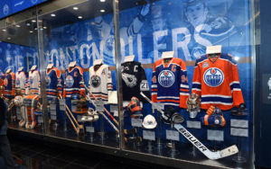A photo of a display case inside the new Oilers Hall of Fame room at Rogers Place. Photo by: Andy Devlin / Edmonton Oilers