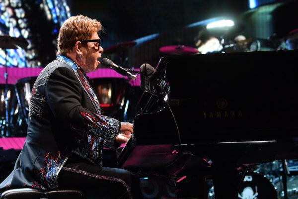 Elton John performing at Rogers Place