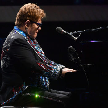 Elton John performing at Rogers Place